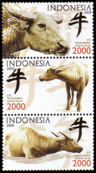 """2009 Year of the Ox 2560 MNH 3v with """"Niu"""""""