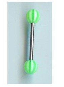 "14g 5/8"" Green Beachball Tongue Barbell"