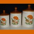 Set of 3 Vintage Mushroom Canisters Sears & Roebuck 1982