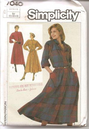 Simplicity 7040 Pattern dress size 12, 14, 16 uncut