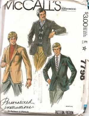McCall's 7798 Men's Jacket Sewing Pattern Size 40 uncut