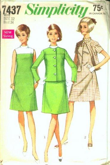 Vintage Simplicity Pattern 7437 Size 12