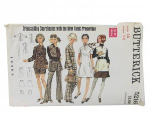 Vintage Butterick 5216 tunic, dress, overblouse, skirt, pants & shorts
