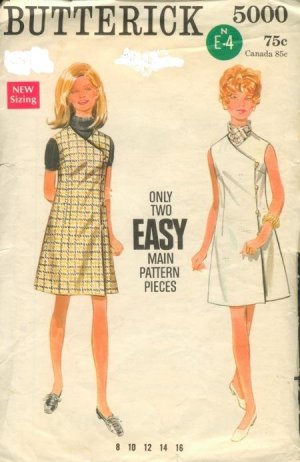 Butterick 5000 Wrap Dress or Jumper Size 12, Bust 34 Vintage UNCUT