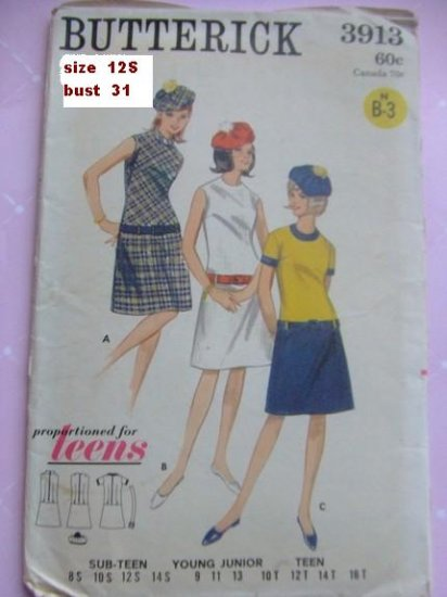 Vintage Butterick teens dress & hat pattern 3913