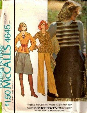 Vintage McCall's 4645 Knit Top, Skirt, Pants & Tank Top pattern
