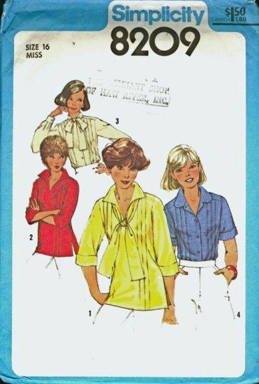 UNCUT Vintage Simplicity blouses pattern 8209 Size 16 B38