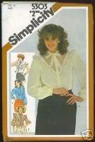 Uncut Vintage Simplicity 5305 ruffled blouse pattern Size 14, B36