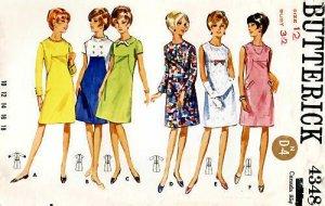 UNCUT Vintage Butterick dress pattern 4348 Size 12, B32
