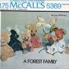 UNCUT Vintage McCall's Pattern 5369 A Forest Family Stuffed Toys