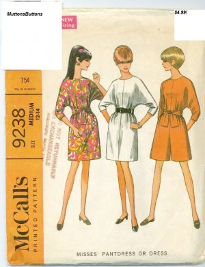 McCall's 9238 Sewing Pattern Pantdress or Dress jumpsuit Size Med