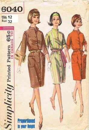 Vintage Simplicity sewing pattern 6040 dress size 12, B32
