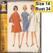 McCall's 8670 Sewing Pattern Vintage coat and dress size 14
