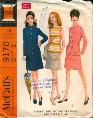 McCall's Vintage Sewing Pattern 9170 suit, skirt, overblouse