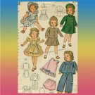 Vintage Simplicity doll clothes sewing pattern 4851