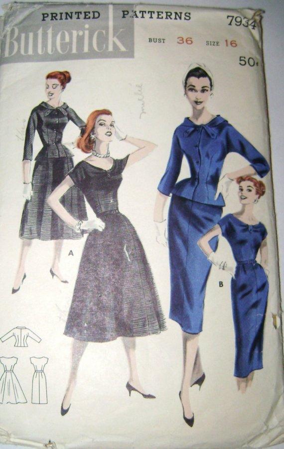 Vintage Butterick dress & jacket ensemble sewing pattern 7934 uncut