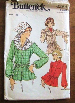 Vintage blouse tunic pattern Butterick 4384 boho