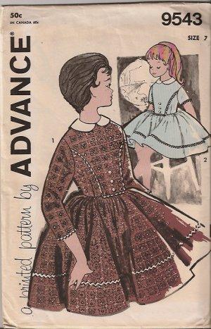 Advance Pattern 9543 Girl's Size 7 Dress Vintage complete