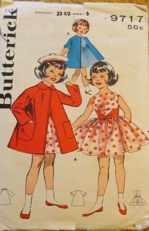 Vintage Butterick 9717 Girls dress and raglan sleeved coat size 5