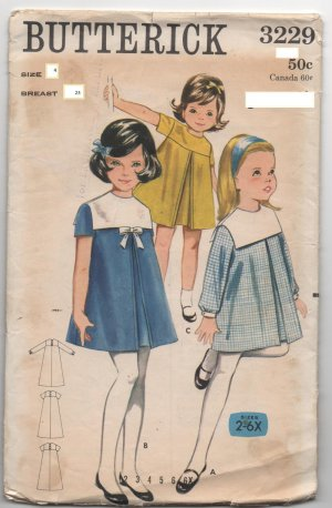 Vintage Girl's sewing pattern Butterick 3229 A-Line dresses Size 4