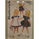 Vintage Girl's sewing pattern Butterick 9851 puffed sleeve dress pinafore Size 6