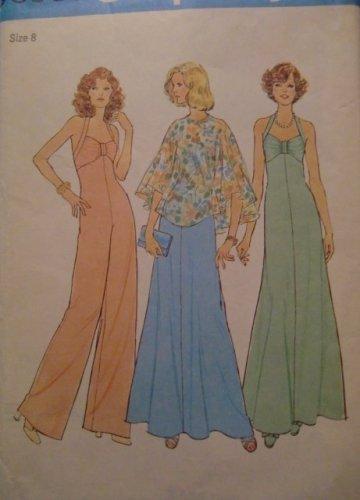 Vintage Halter Dress, Jumpsuit, poncho sewing pattern Simplicity 6939 Size 8