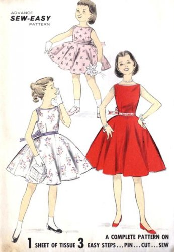 Vintage Girls Dress Sewing Pattern Advance 8282 Sew Easy