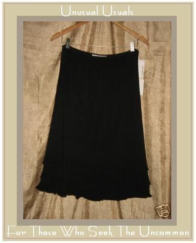 NWT WHITEWASH Soft Black rayon knit Ruffle Skirt MEDIUM M
