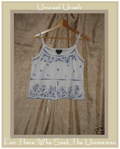 PASSPORT Crips White W Blue Embroidery Tank Top Shirt MEDIUM M