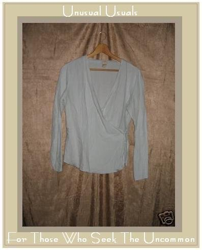 J. JILL Soft Blue LINEN Wrap Tie Jacket Shirt Top Small