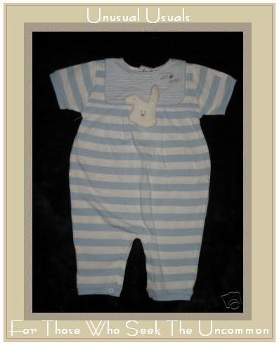 ABSORBA Mini Chien Blue Striped Rabbit Romper Outfit 6M