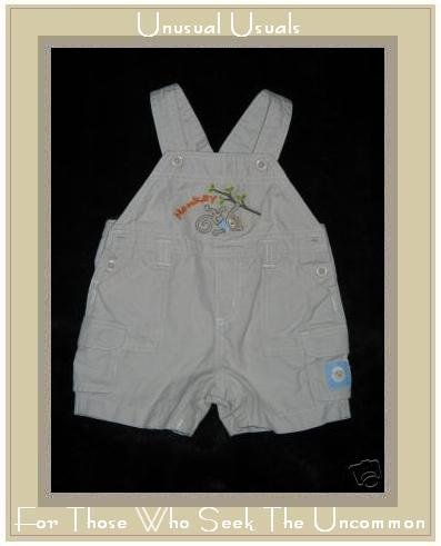 Lullaby Club Khaki M is for Monkey Overalls 3 Month EUC