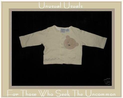 Lullaby Club Soft Yellow Baby Bear Button Jacket 9M EUC