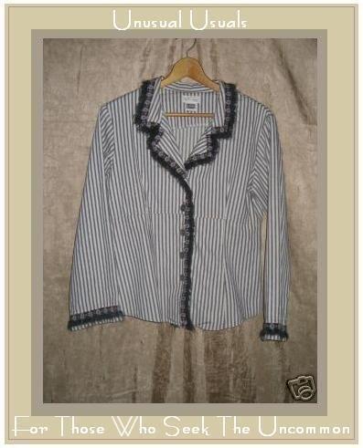 NEESH by DAR Shapely Floral Fur Trim Striped Jacket MEDIUM M