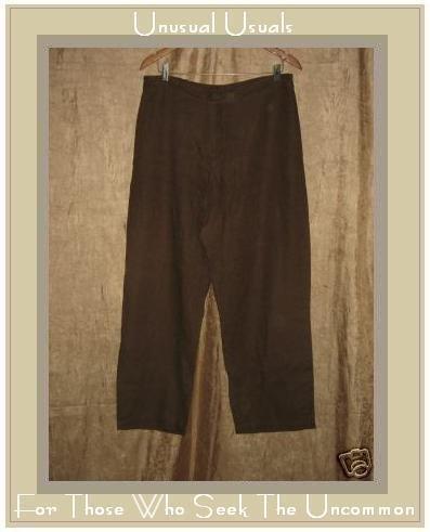 Chico's Design BROWN LINEN Trouser PANTS Size 3 LARGE L