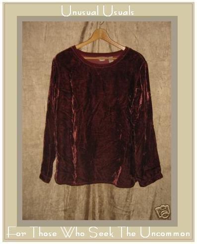 J. JILL Merlot Rayon Velvet Shirt Top MEDIUM M Tall MT