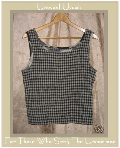 ANGELIQUE Puckered Plaid Pullover Tank Top Shirt LARGE L
