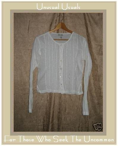 ACCOMPLICE Soft White Cotton Button Shirt Top LARGE L