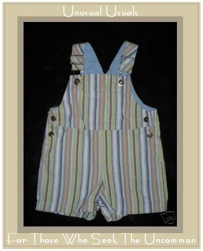ALL MINE Sweet Striped Cotton Overalls 6-9 Months EUC