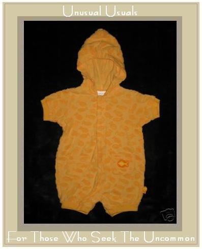 CARTER'S BABY Terry Gold Fish Hooded Romper 3-6 Months