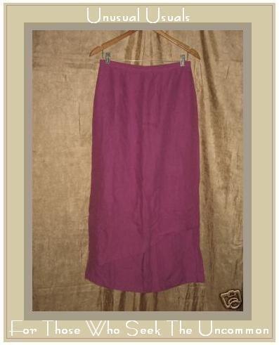 COTE FEMME Long Dark Pink LINEN Layer Skirt Size 8 S M