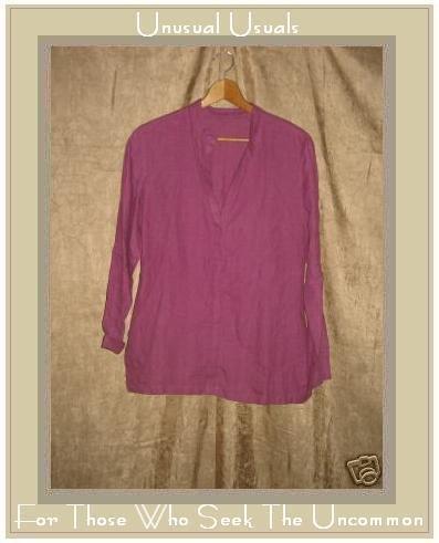 COTE FEMME Dark Pink LINEN Tunic Top Shirt Size 6 S M