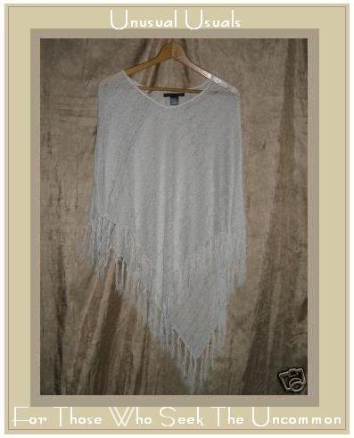 BETTE SUNG Ethereal White Boho Hippy Poncho Sweater OS