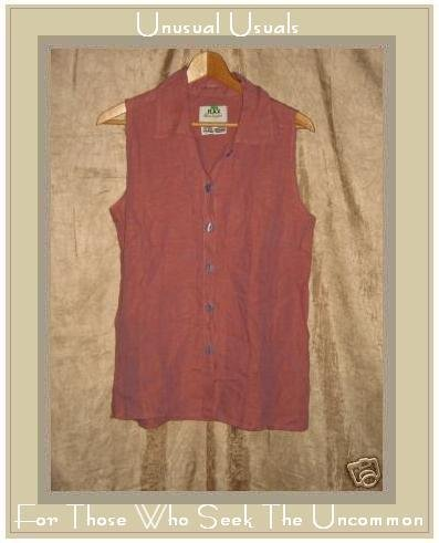 FLAX Sunset LINEN Soda Pop Top Shirt Jeanne Engelhart SMALL S