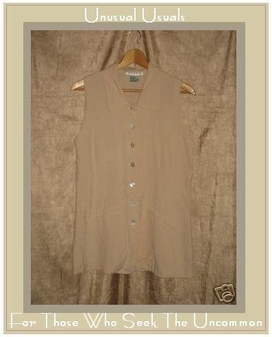 HALSTON Creamy Pink Silk Button Tank Shirt Top Size 10