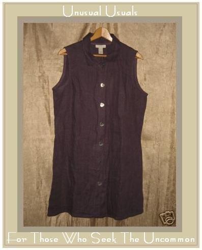 J. Jill Purple Linen Tunic Top Jacket Button Dress LP PETITE LARGE