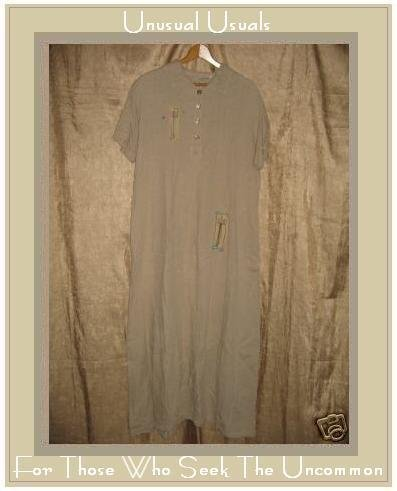 CHALET Whimsical Painted LINEN Boutique Dress Large L