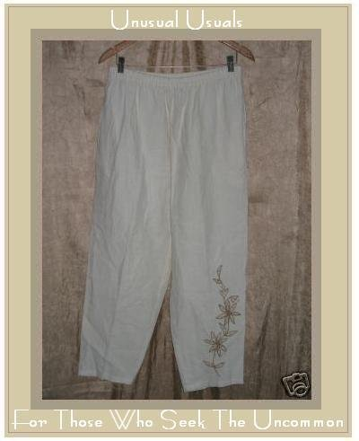 Parsley & Sage Cream Embroidered LINEN Pants Large L