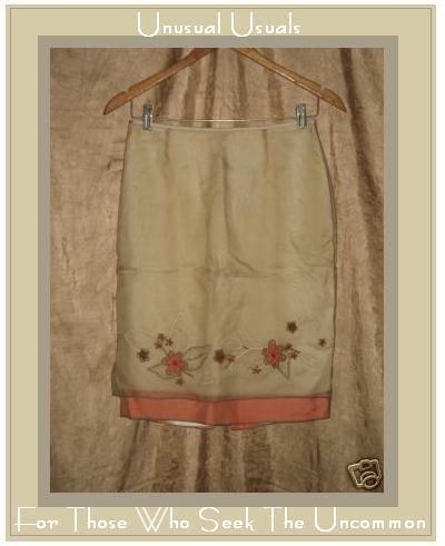 NWT LAUNDRY by Shelli Segal SILK Skirt Beaded Hemline 4