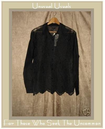 NWT SILKLAND Sheer Embroidered BLACK SILK Shirt Top MEDIUM M